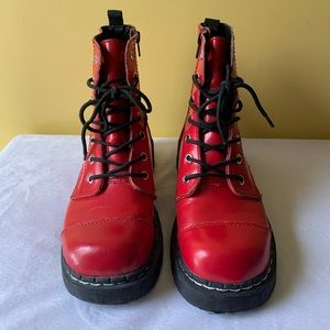 Hot Topic Red Combat Boots